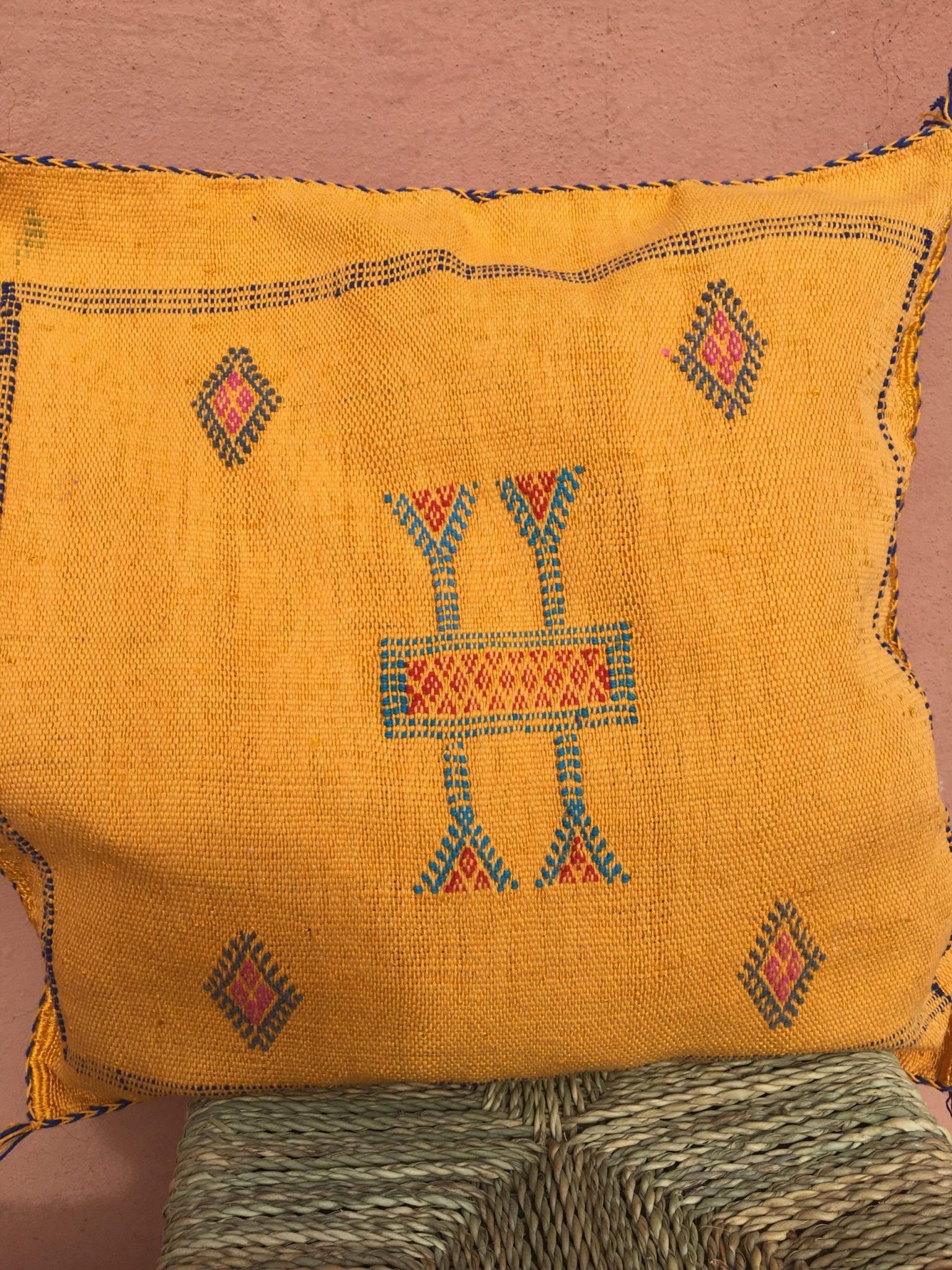 Moroccan Cactus Silk Pillow Cover:Woven